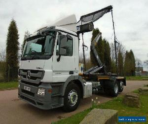 2013 (63) Mercedes Actros 2544 6x2 Rear Lift Axle Hook Loader, Drawbar, Boughton for Sale